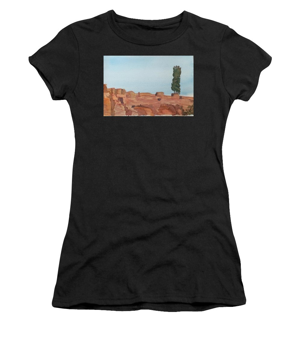 Alone Women's T-Shirt featuring the painting Solitarty Tree On Mountain by Katherine Berlin