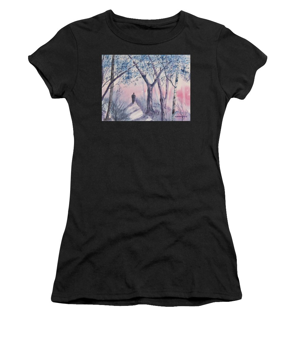 Man Walking Alone Women's T-Shirt (Athletic Fit) featuring the painting Solitary Man by Donna Cary