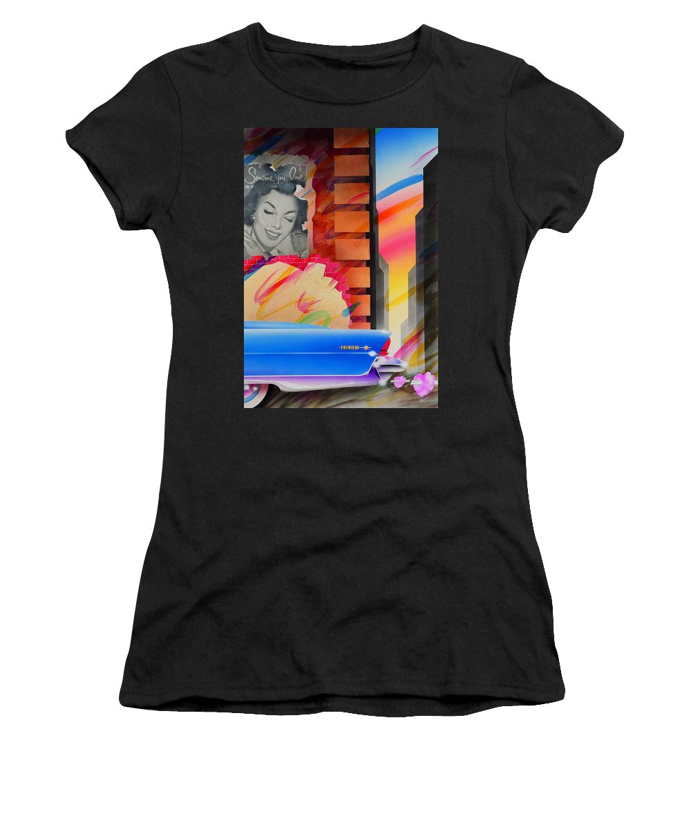Collage Women's T-Shirt (Athletic Fit) featuring the painting Someone You Love by Charles Stuart