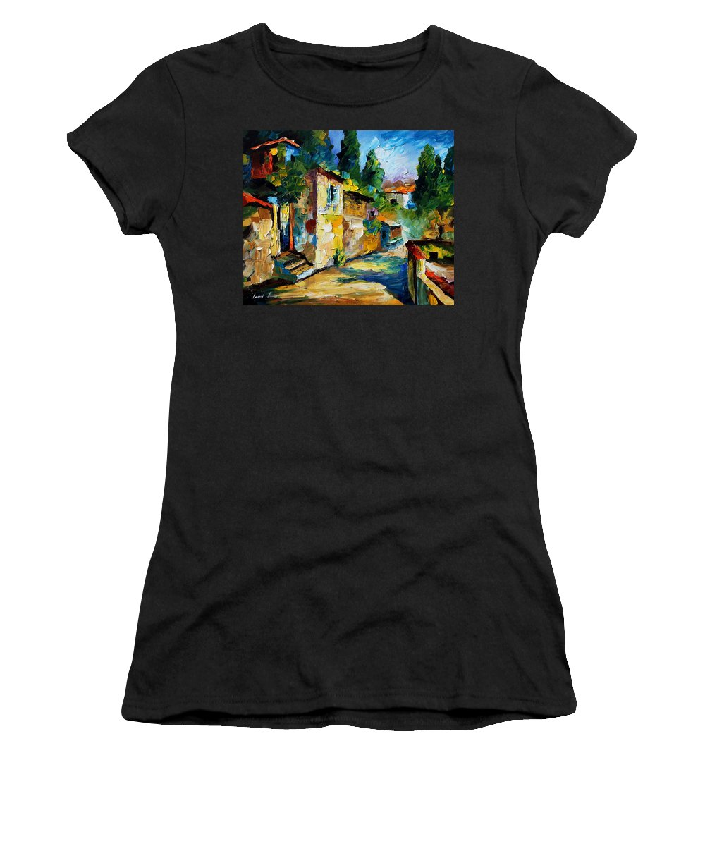 City Women's T-Shirt (Athletic Fit) featuring the painting somewhere in Israel by Leonid Afremov