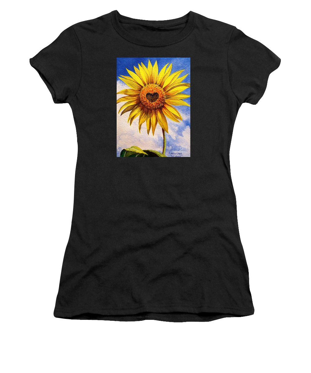 Sunflower Women's T-Shirt (Athletic Fit) featuring the painting Son Kissed by Nancy Cupp