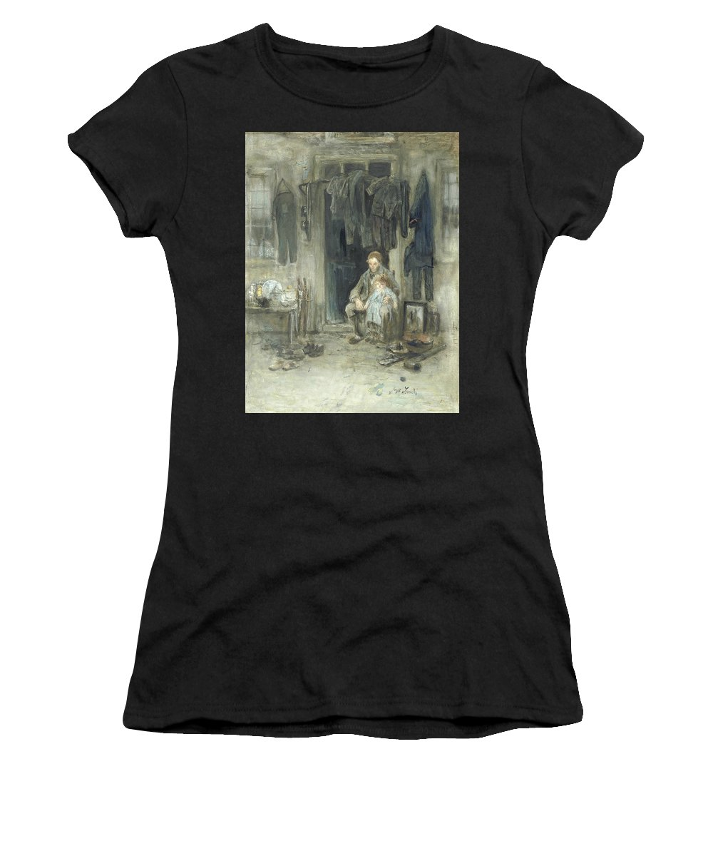 19th Century Painters Women's T-Shirt (Athletic Fit) featuring the painting Son Of The Old People by Jozef Israels
