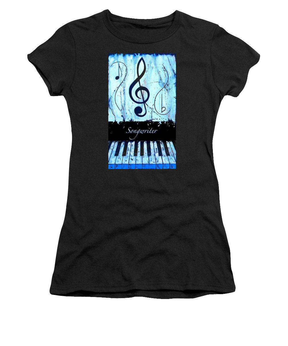 Songwriter - Blue Women's T-Shirt (Athletic Fit) featuring the mixed media Songwriter - Blue by Wayne Cantrell