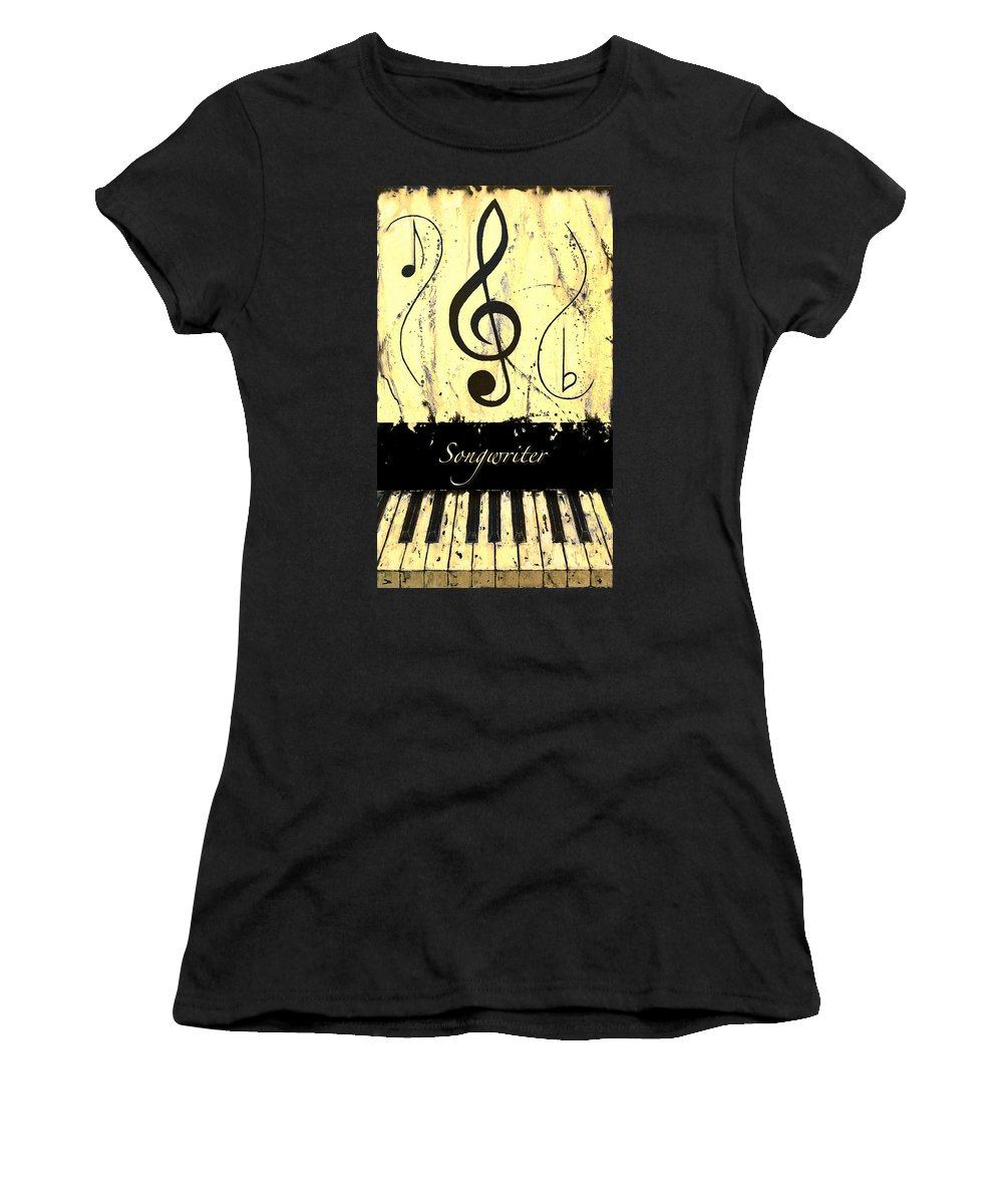 Songwriter - Yellow Women's T-Shirt (Athletic Fit) featuring the mixed media Songwriter - Yellow by Wayne Cantrell