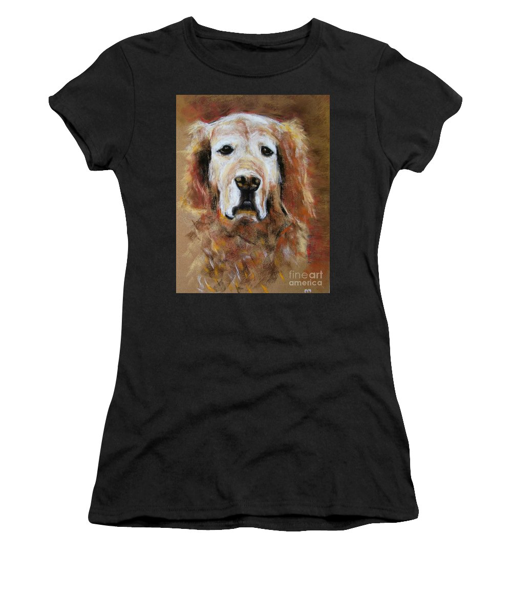 Golden Women's T-Shirt (Athletic Fit) featuring the painting Sonny by Frances Marino