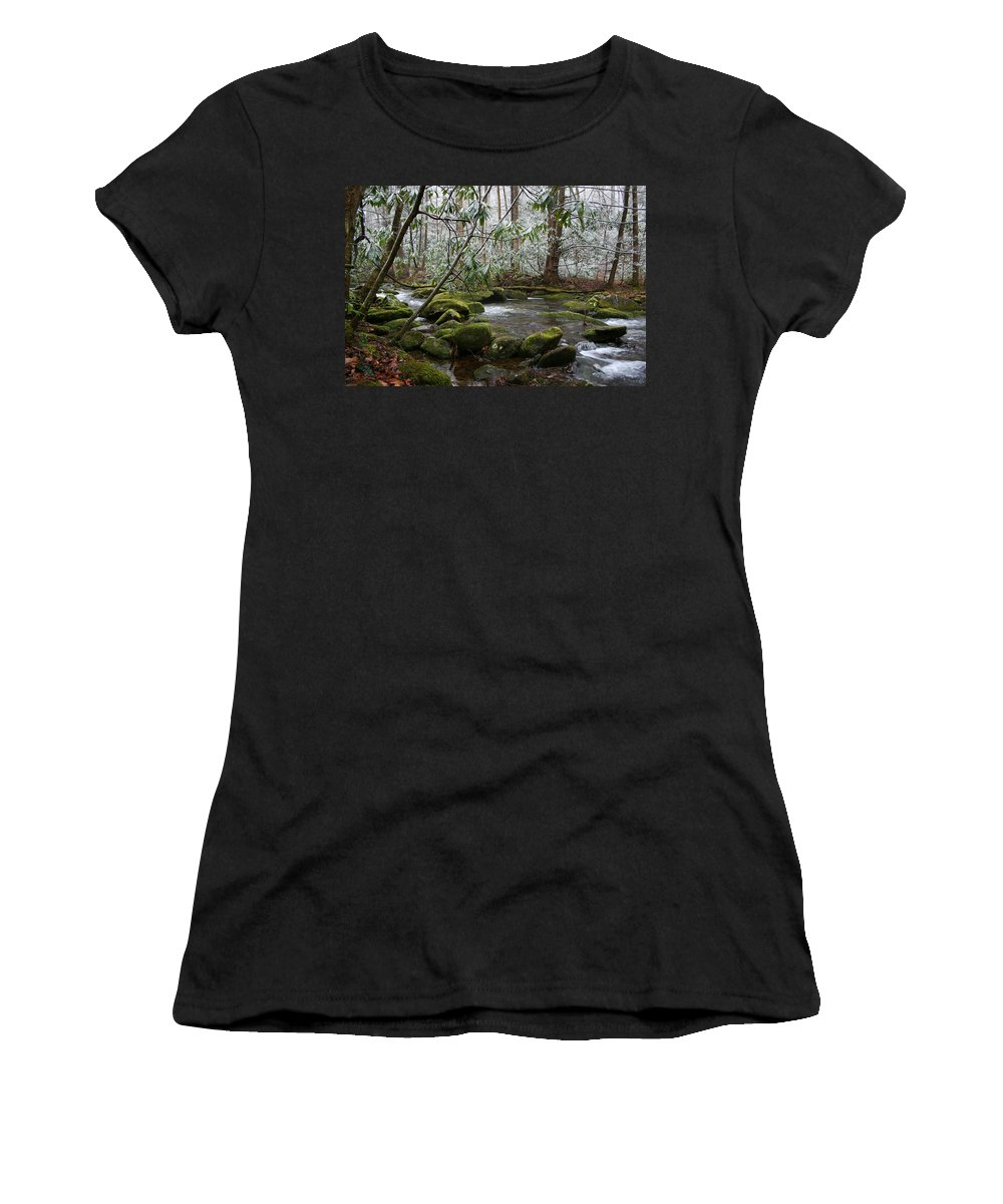 River Stream Creek Water Nature Rock Rocks Tree Trees Winter Snow Peaceful White Green Flowing Flow Women's T-Shirt (Athletic Fit) featuring the photograph Soothing by Andrei Shliakhau