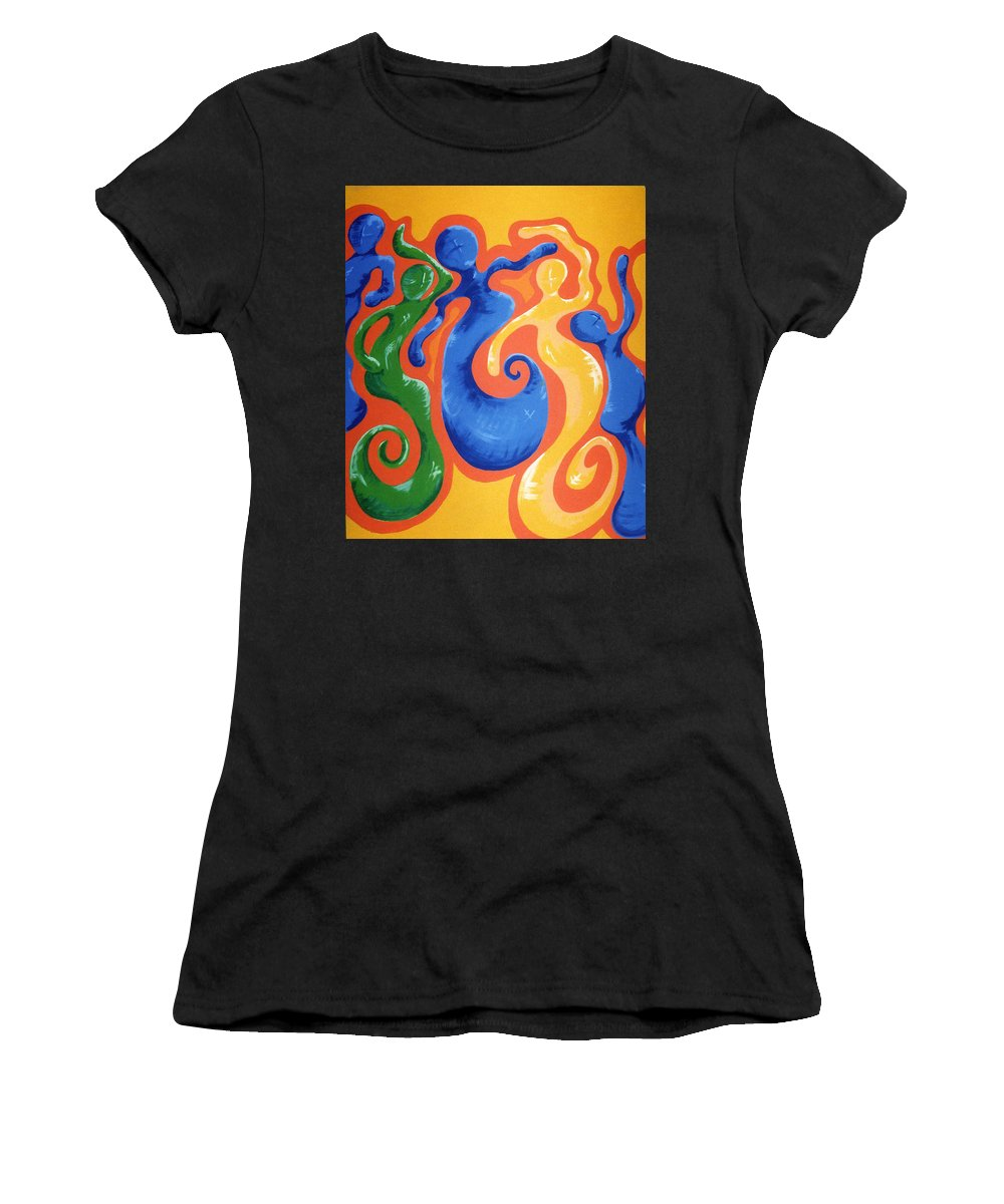 Women's T-Shirt (Athletic Fit) featuring the painting Soul Figures 3 by Catt Kyriacou