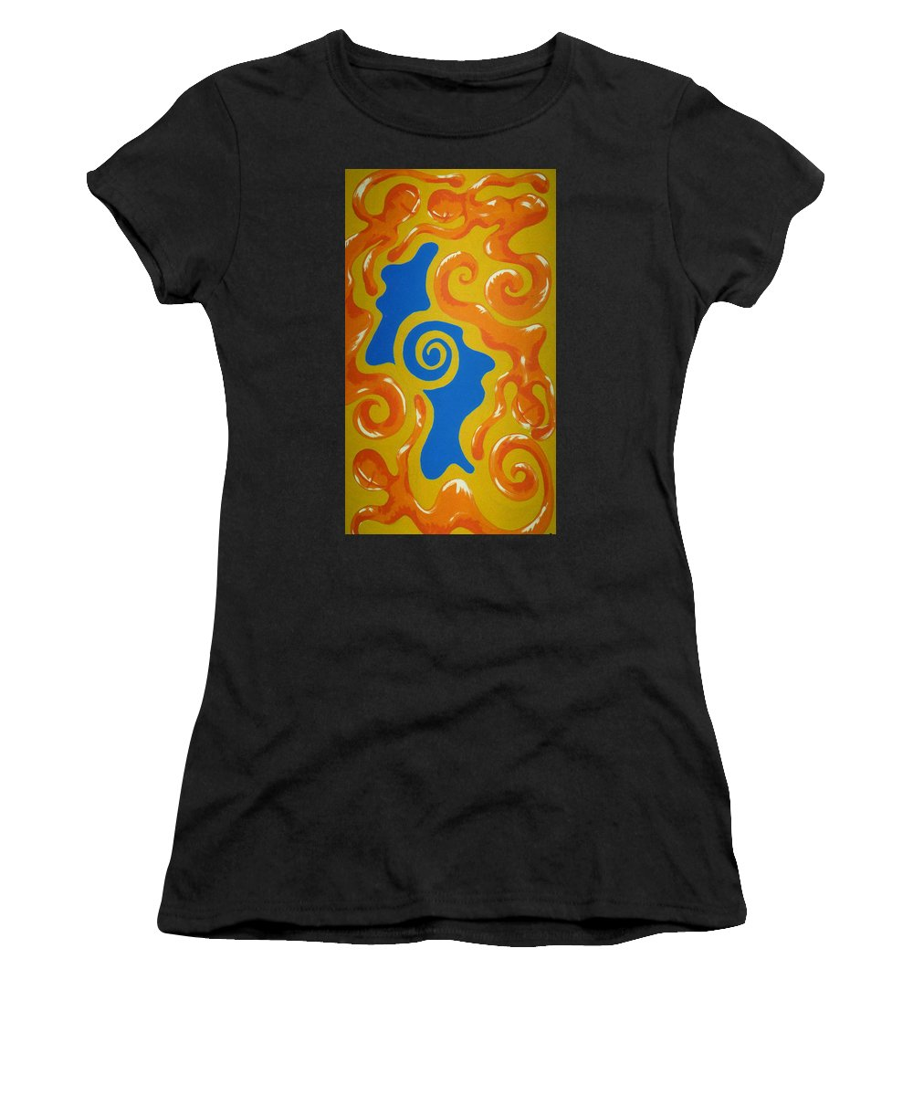 Cyprus Women's T-Shirt (Athletic Fit) featuring the painting Soul Figures 5 by Catt Kyriacou