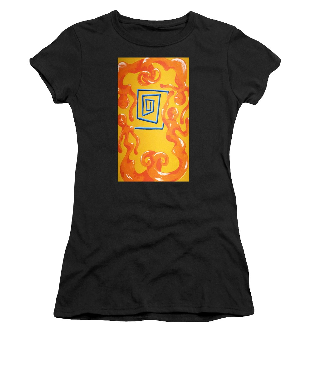 Women's T-Shirt featuring the painting Soul Figures 8 by Catt Kyriacou