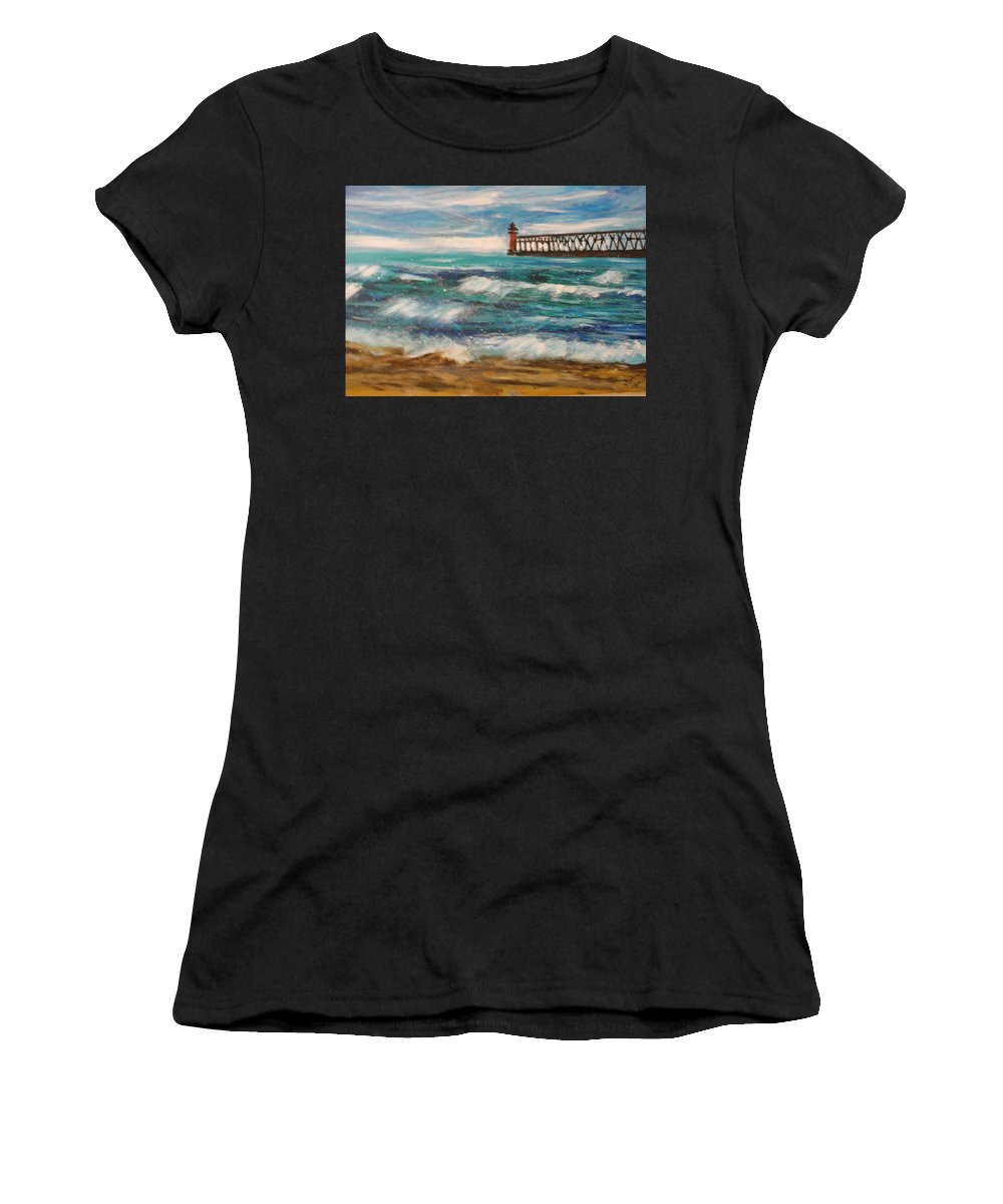 #lakemichigan Women's T-Shirt featuring the painting South Haven Lighthouse by Linda Waidelich