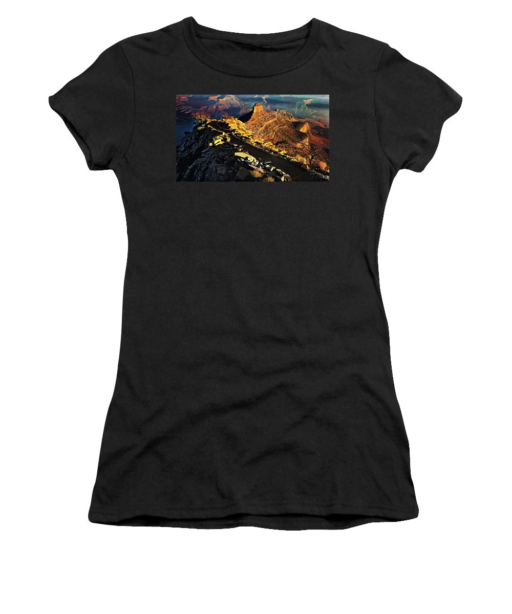 Grand Women's T-Shirt (Athletic Fit) featuring the painting South Kaibab Trail - Grand Canyon by Russ Harris