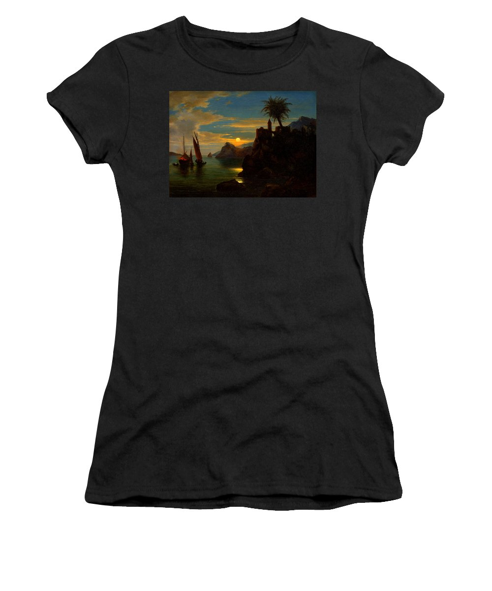 Ferdinand Keller Women's T-Shirt featuring the painting Southern Coastal View By Moonlight by Georg Kobel