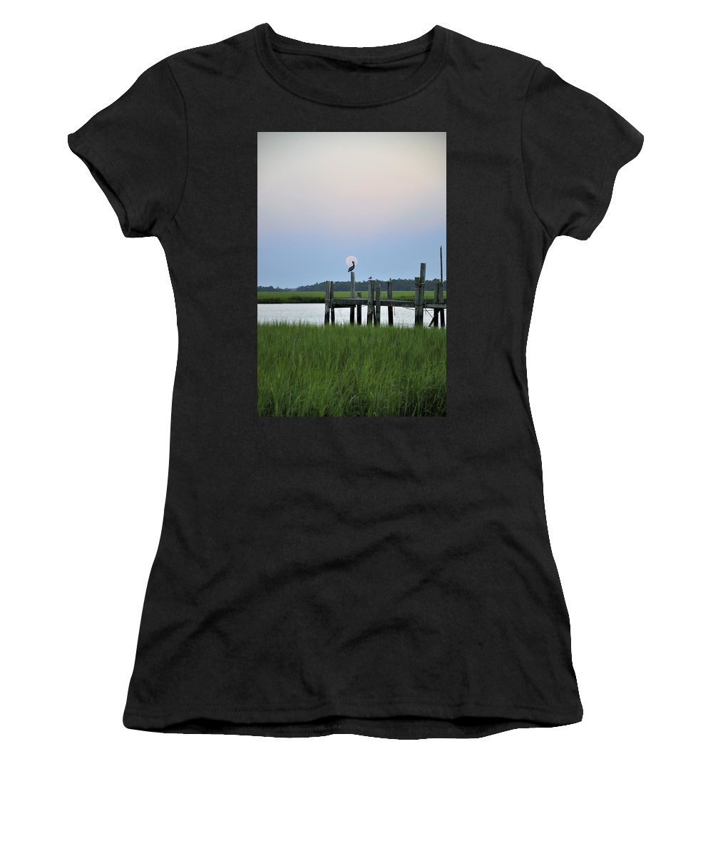Full Moon Women's T-Shirt (Athletic Fit) featuring the photograph Southern Serenity by Sally Falkenhagen
