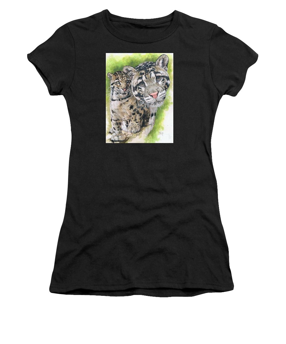 Clouded Leopard Women's T-Shirt (Athletic Fit) featuring the mixed media Sovereignty by Barbara Keith