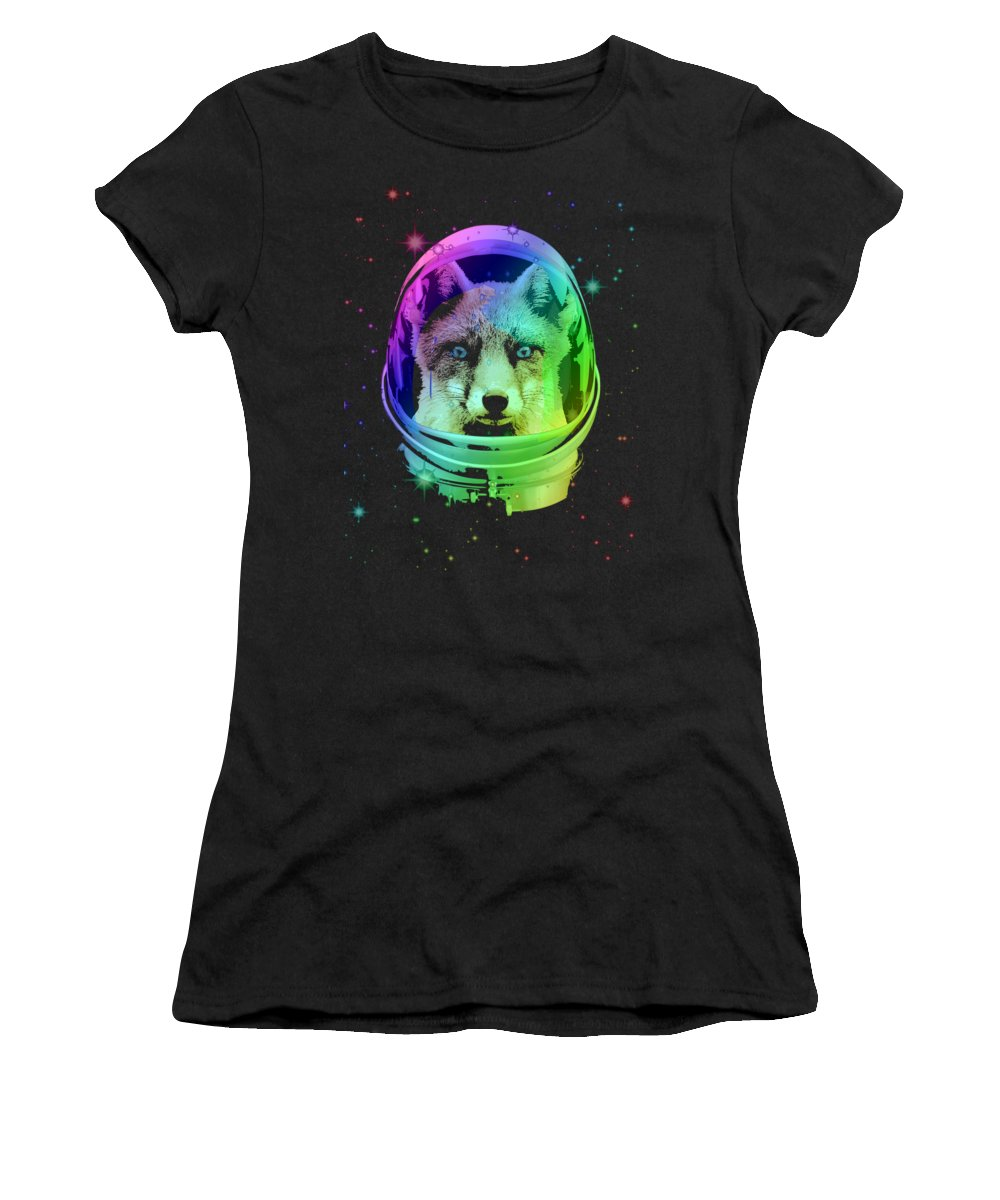 Fox Women's T-Shirt featuring the mixed media Space Fox by Filip Schpindel