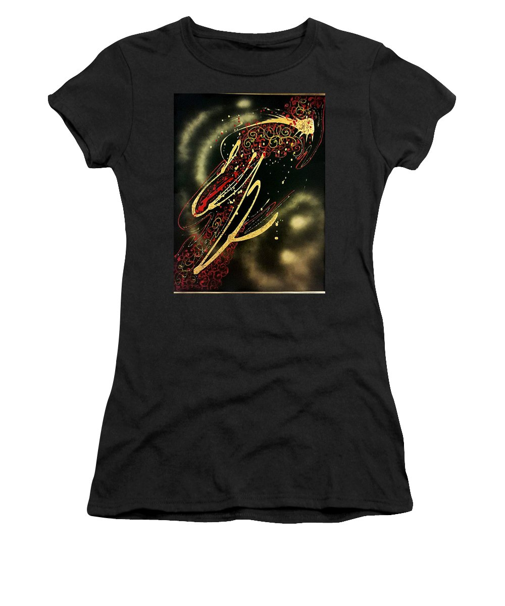 Painting On Black Silk Women's T-Shirt (Athletic Fit) featuring the painting Space by Natallia Mazurkevich