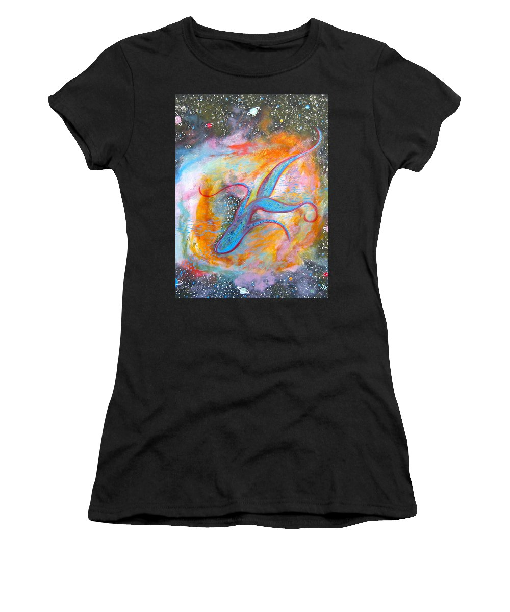 Space Women's T-Shirt (Athletic Fit) featuring the painting Space Ocean by V Boge