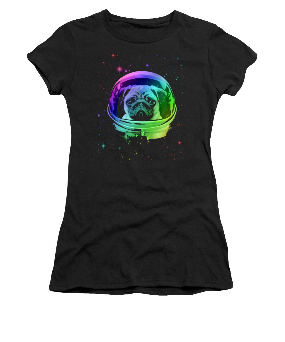 Pug Women's T-Shirt featuring the mixed media Space Pug by Filip Schpindel