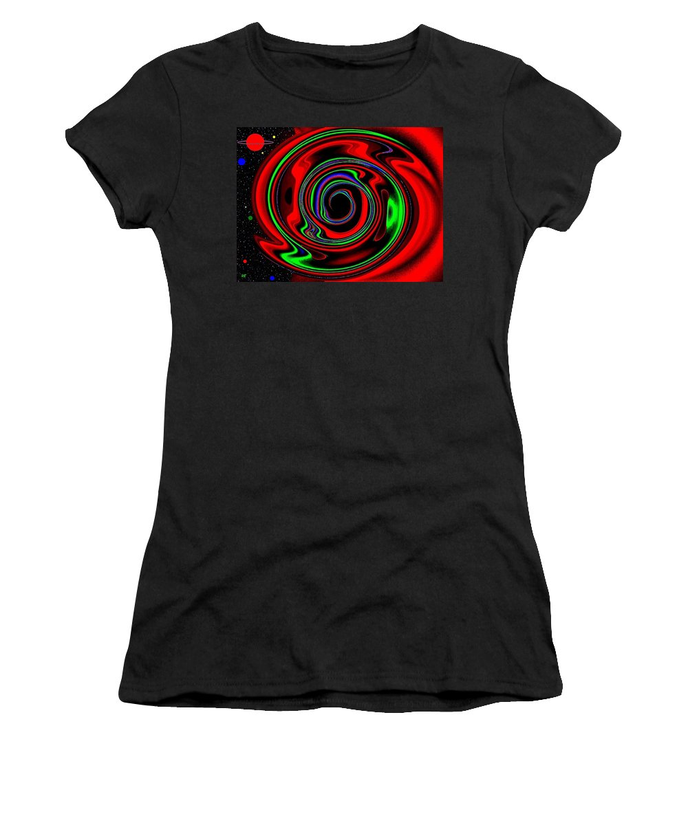 Abstract Women's T-Shirt (Athletic Fit) featuring the digital art Space Twister by Will Borden