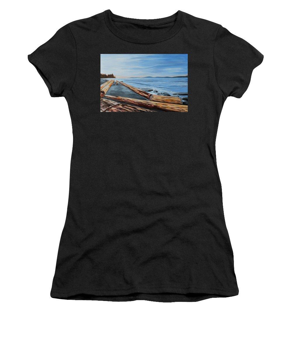 Spanish Banks Women's T-Shirt featuring the painting Spanish Banks by Caroline Liggett