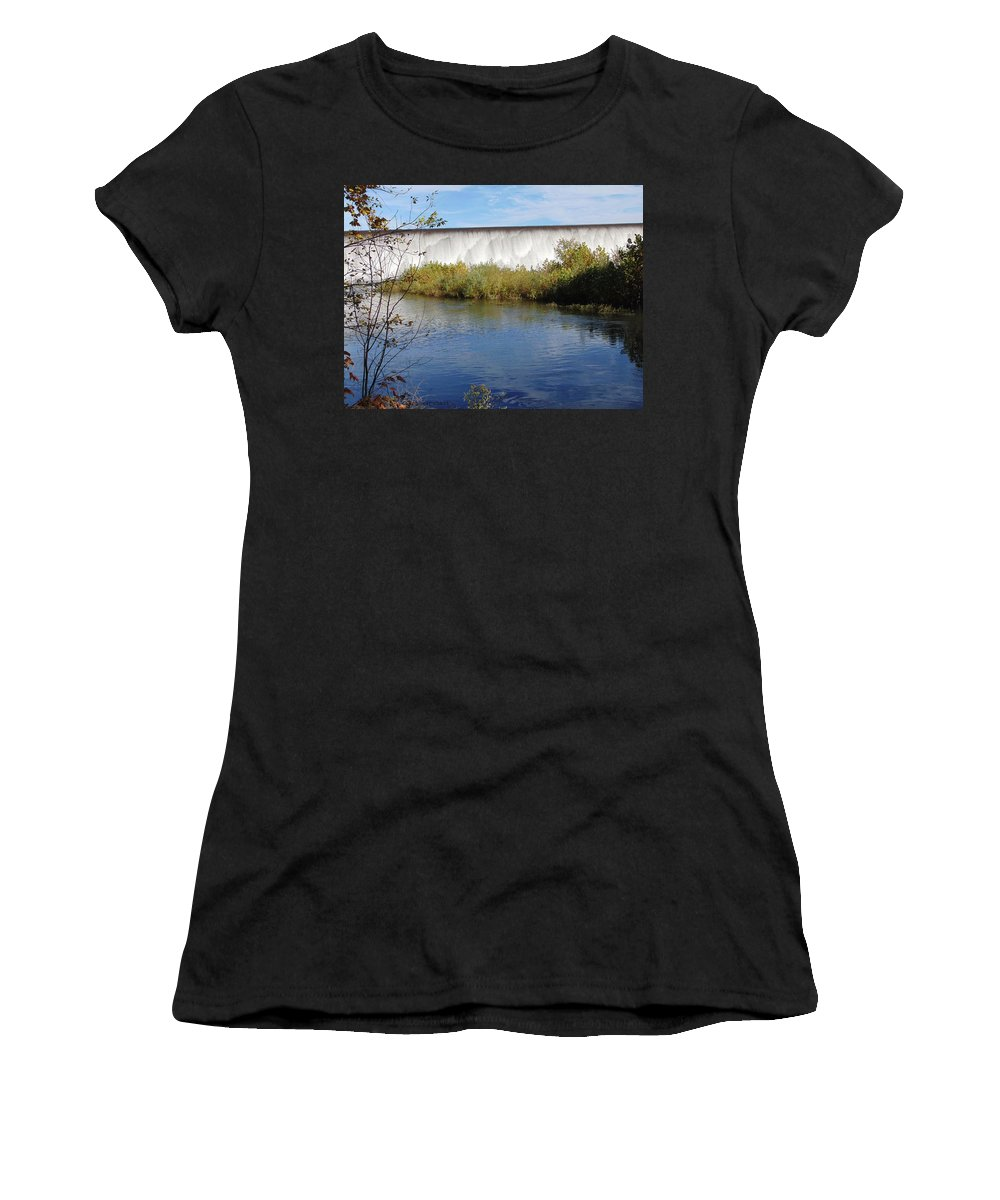 Waterfalls Women's T-Shirt (Athletic Fit) featuring the pastel Spavinaw Falls by Karen Capehart