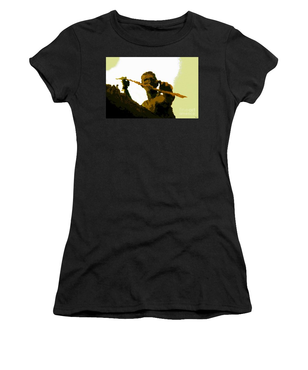 Spearfishing Women's T-Shirt (Athletic Fit) featuring the painting Spearfishing Man by David Lee Thompson