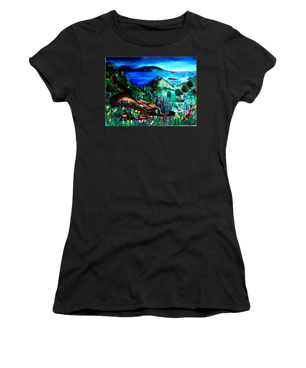 Landscape Women's T-Shirt (Athletic Fit) featuring the painting Special Land by Andrew Johnson