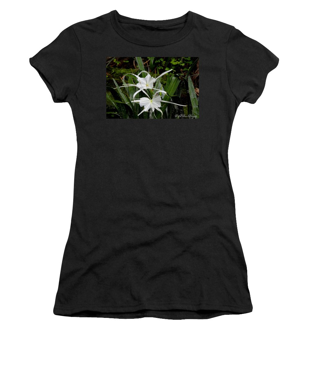 Spider Lily Women's T-Shirt (Athletic Fit) featuring the photograph Spider Lilies by Barbara Bowen