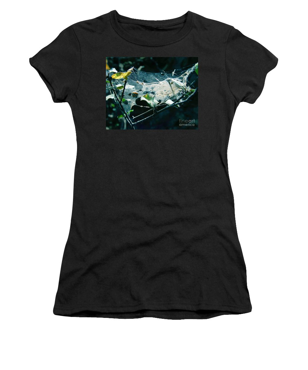 Spider Women's T-Shirt (Athletic Fit) featuring the photograph Spider Web by Peter Piatt