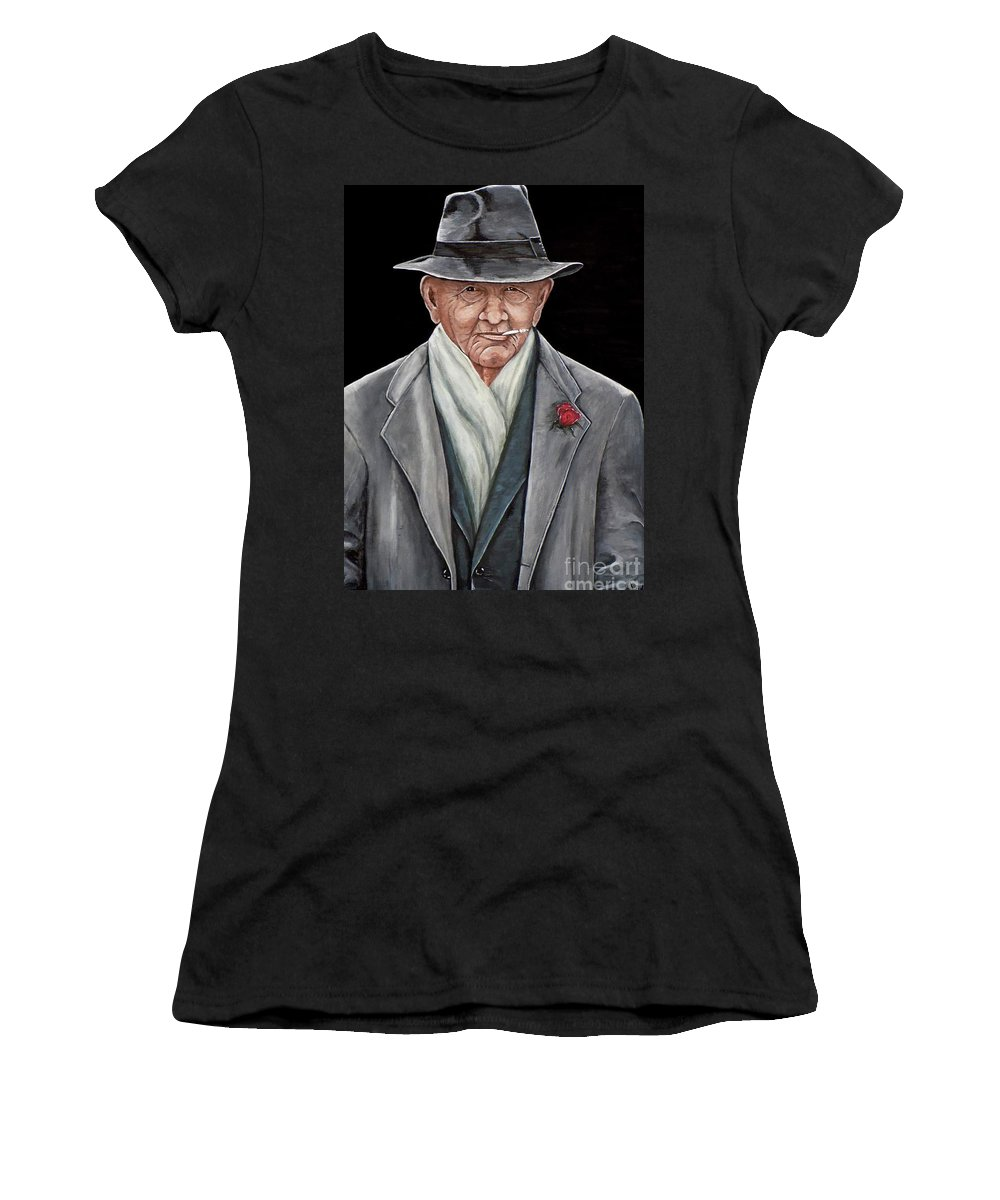 Spiffy Women's T-Shirt (Athletic Fit) featuring the painting Spiffy Old Man by Judy Kirouac