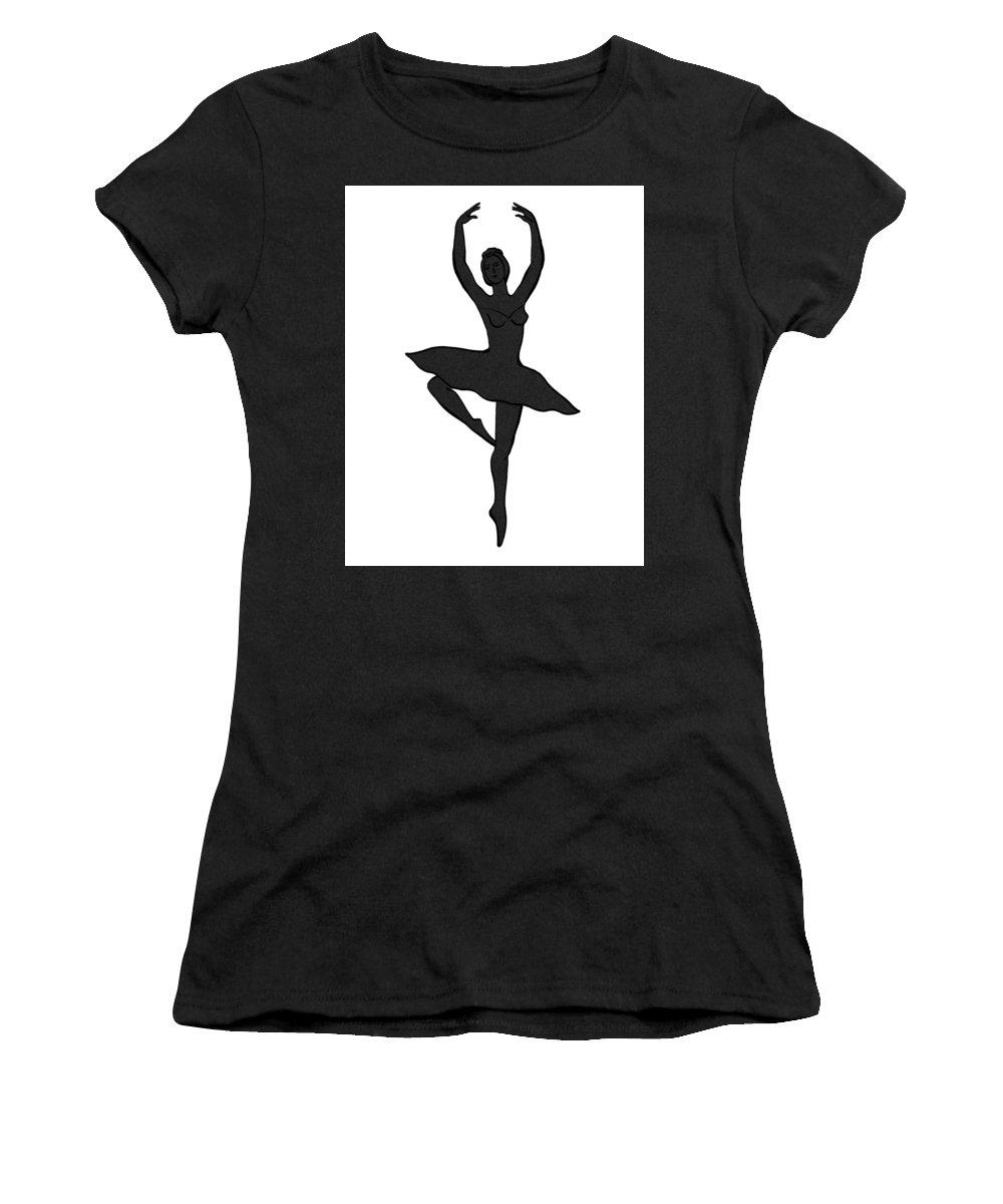 Ballerina Women's T-Shirt featuring the painting Spinning Ballerina Silhouette by Irina Sztukowski