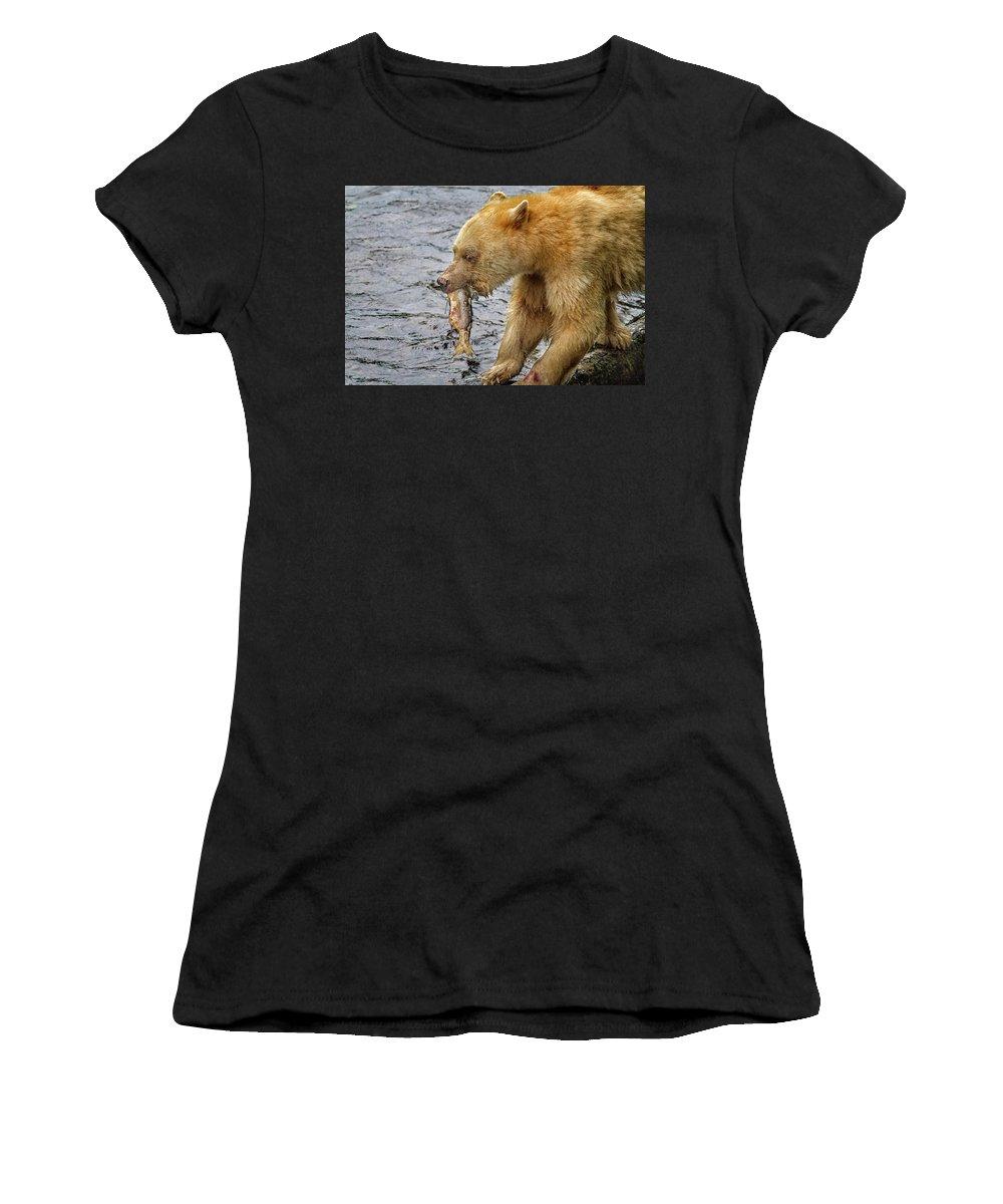 Bear Women's T-Shirt featuring the photograph Spirit Bear Take Out 9636 by Karen Celella