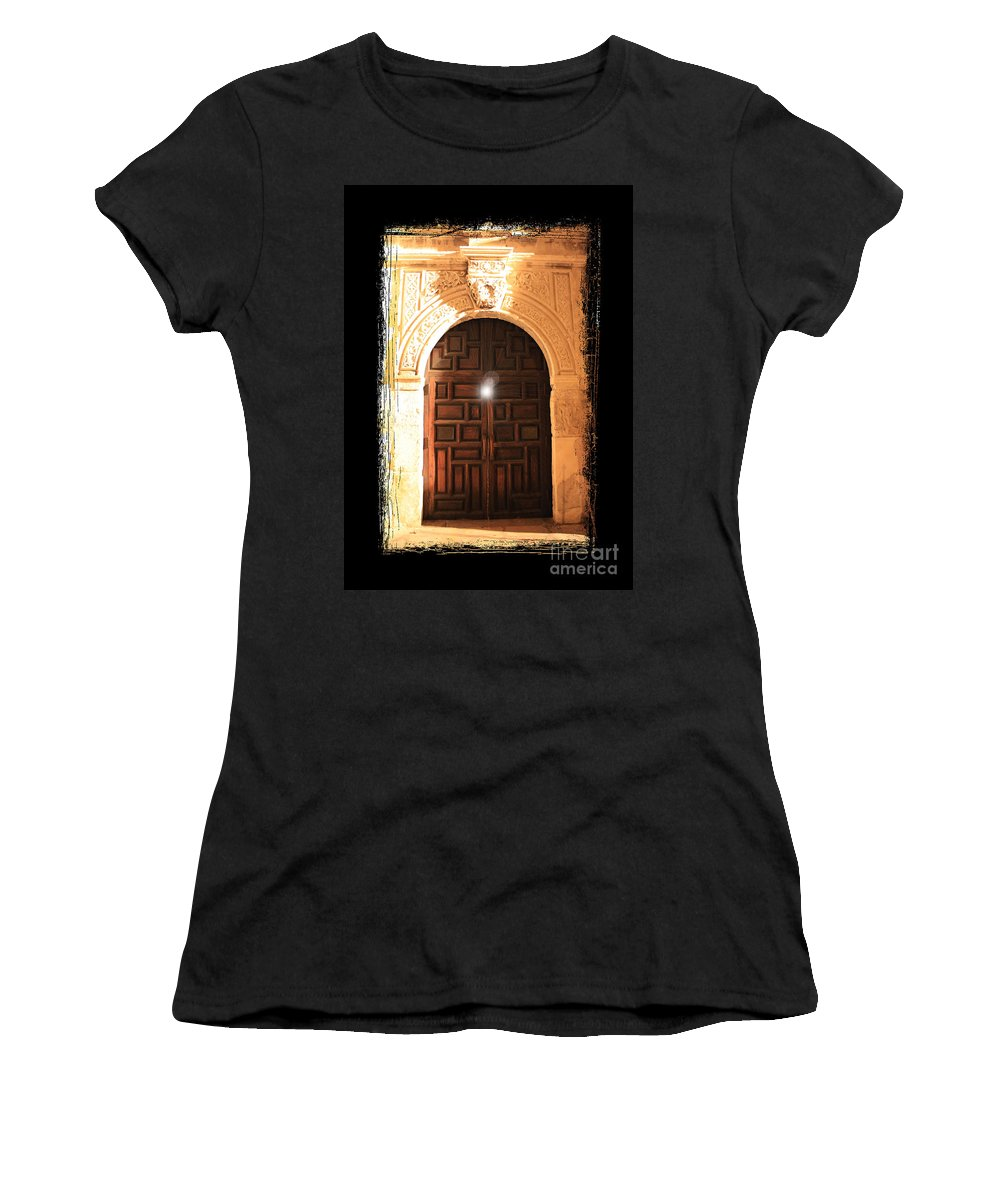 Radiant Light Women's T-Shirt (Athletic Fit) featuring the photograph Spirit Of The Alamo With Framing by Carol Groenen