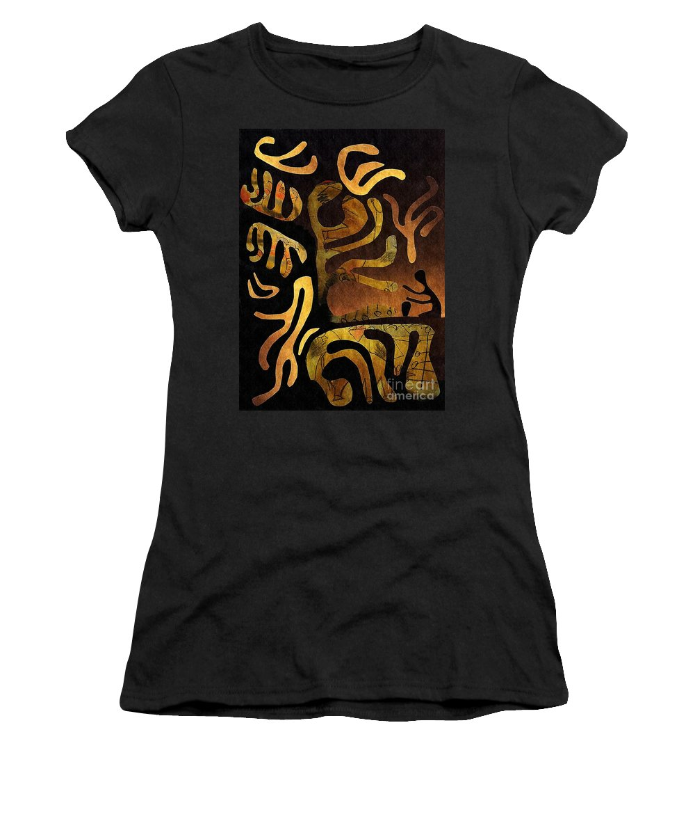 Mixed Media Women's T-Shirt (Athletic Fit) featuring the mixed media Spiritual Drummer by Sarah Loft