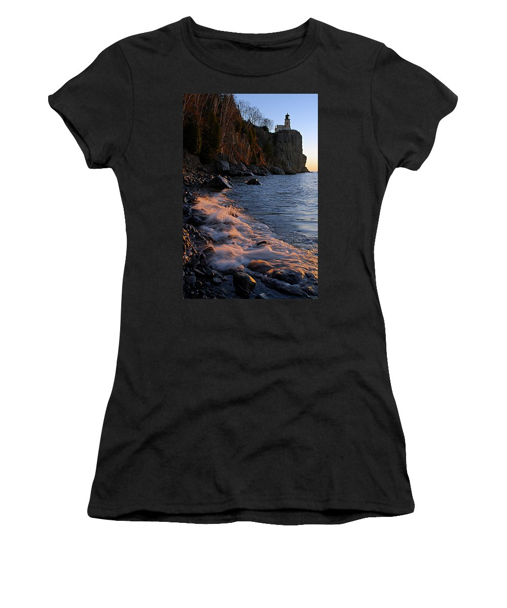Split Rock Lighthouse Women's T-Shirt (Athletic Fit) featuring the photograph Split Rock Lighthouse At Dawn by Larry Ricker