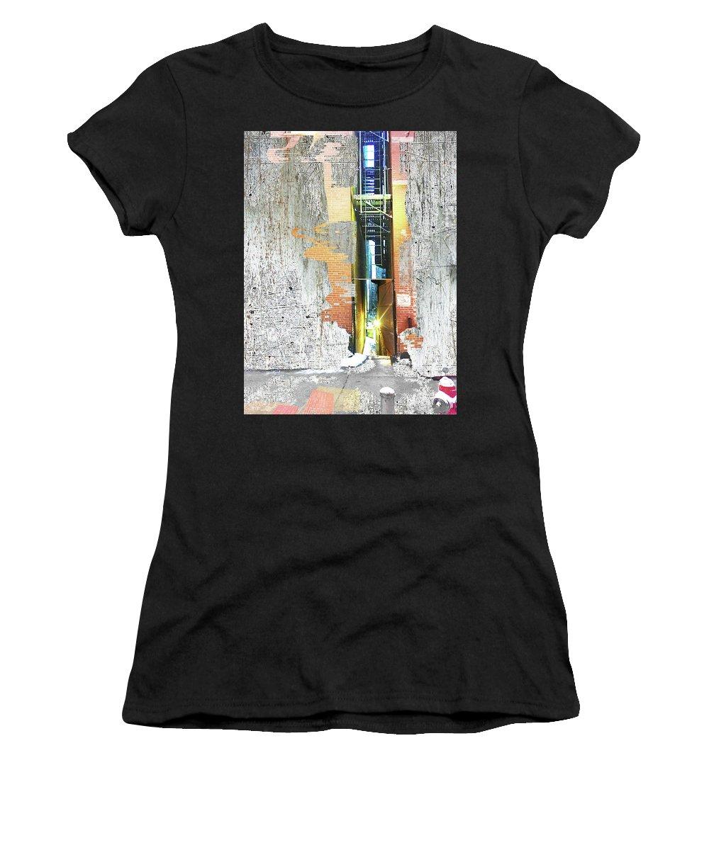 Front Women's T-Shirt featuring the mixed media Split by Tony Rubino