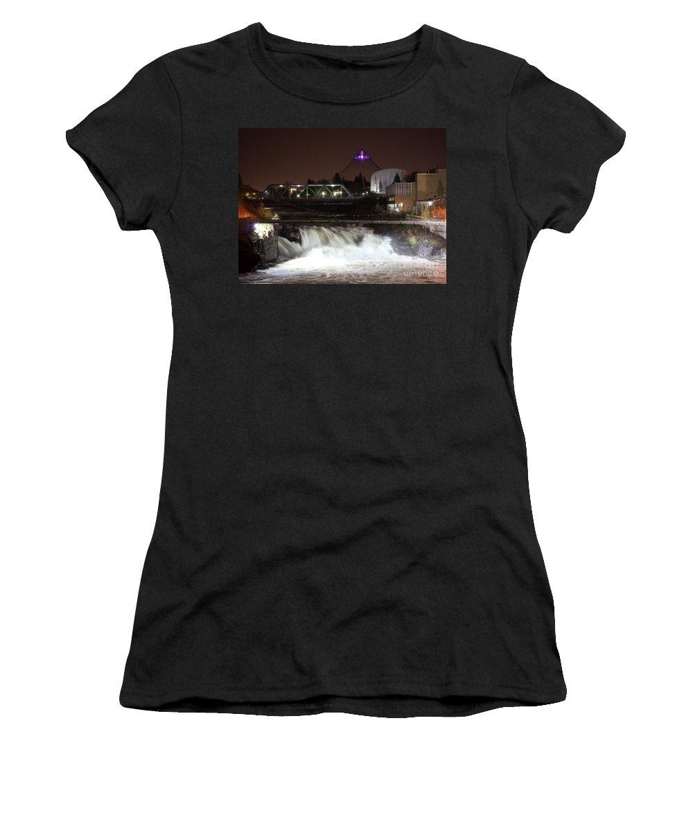 Spokane Women's T-Shirt (Athletic Fit) featuring the photograph Spokane Falls Night Scene by Carol Groenen