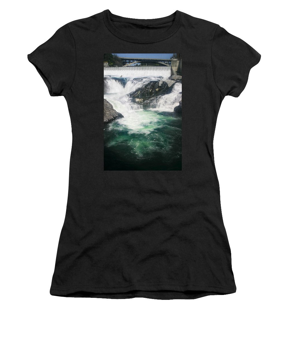 Water Falls Women's T-Shirt (Athletic Fit) featuring the photograph Spokane Waterfalls by Anthony Jones