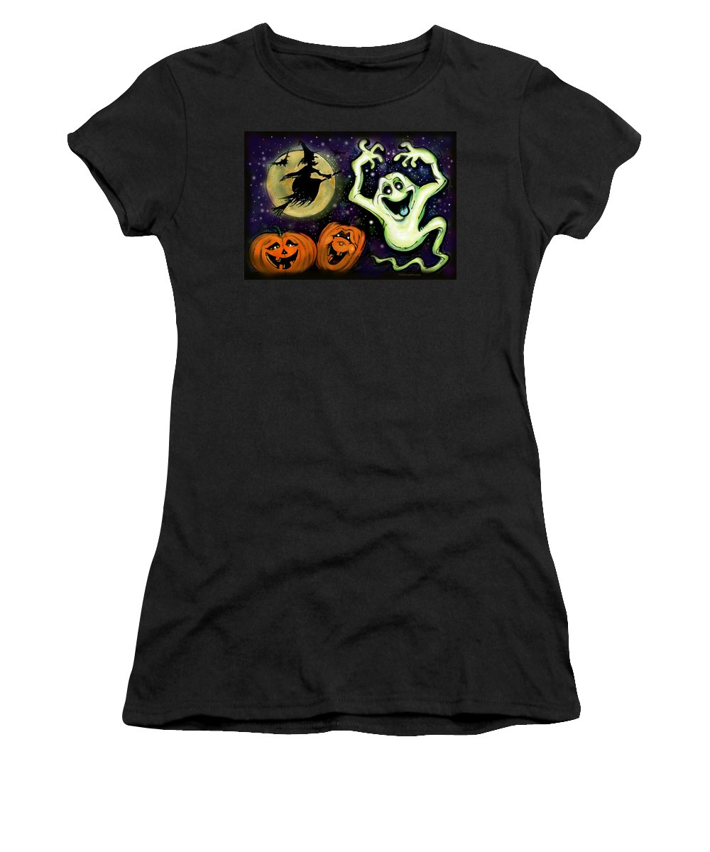 Halloween Women's T-Shirt (Athletic Fit) featuring the painting Spooky by Kevin Middleton