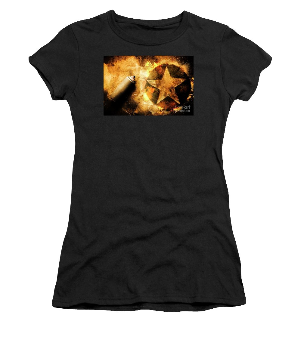 Graffiti Women's T-Shirt featuring the photograph Spray Can With Army Star Graffiti by Jorgo Photography - Wall Art Gallery