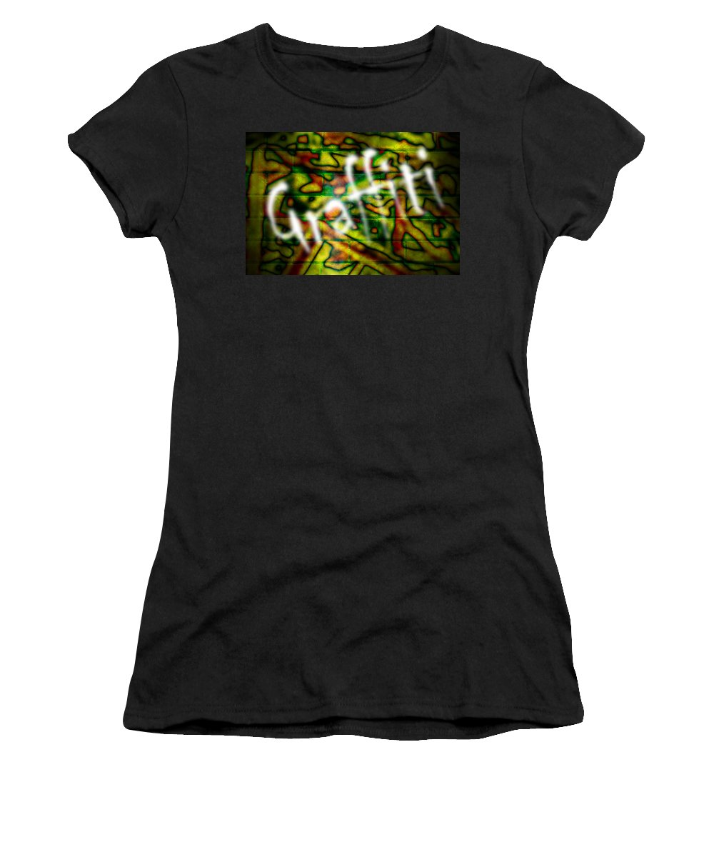 Graffiti Women's T-Shirt (Athletic Fit) featuring the photograph Spray Painted Graffiti by Phill Petrovic