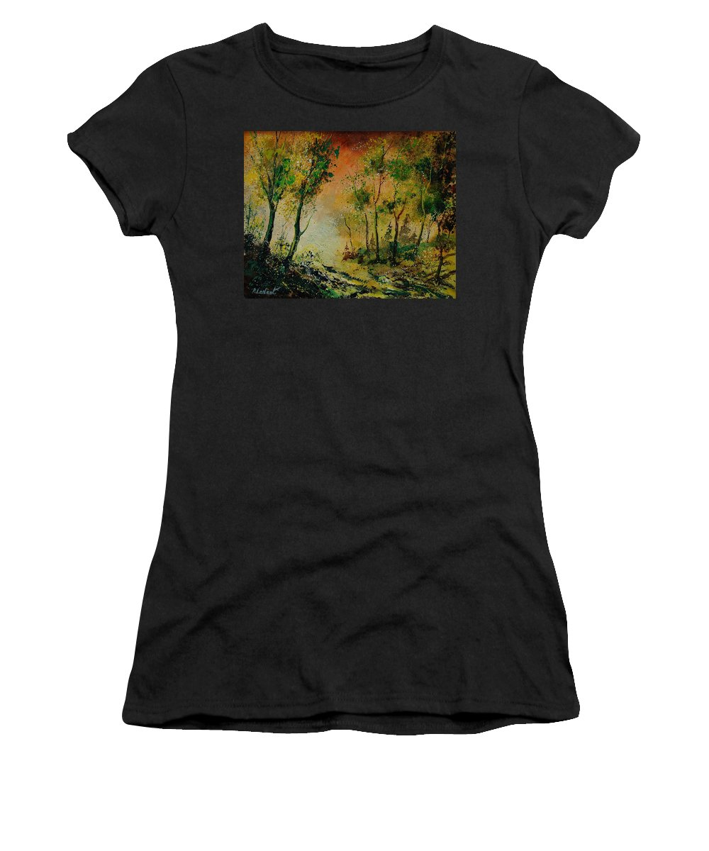Spring Women's T-Shirt featuring the painting Sprin In Wood 45 by Pol Ledent