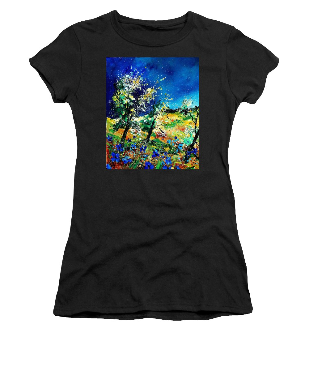 Tree Women's T-Shirt (Athletic Fit) featuring the painting Spring 56 by Pol Ledent
