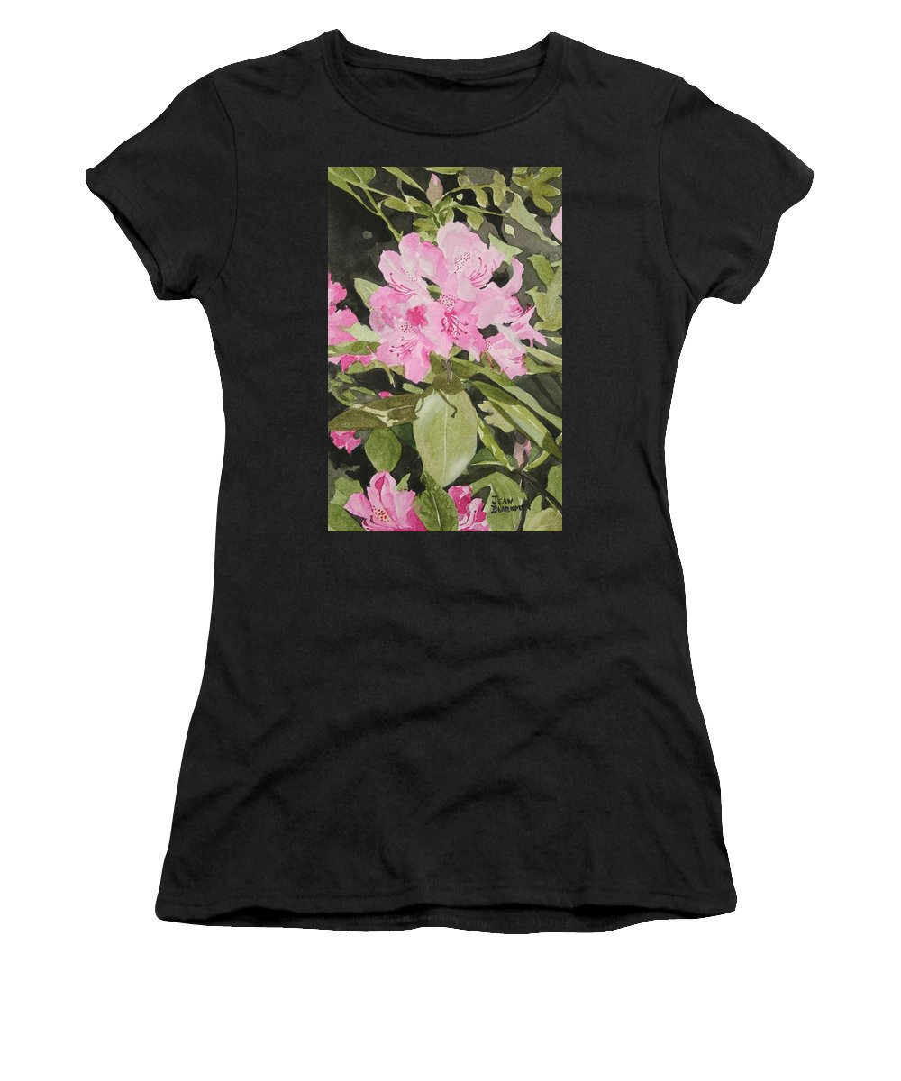Flowers Women's T-Shirt (Athletic Fit) featuring the painting Spring At The Cabin by Jean Blackmer