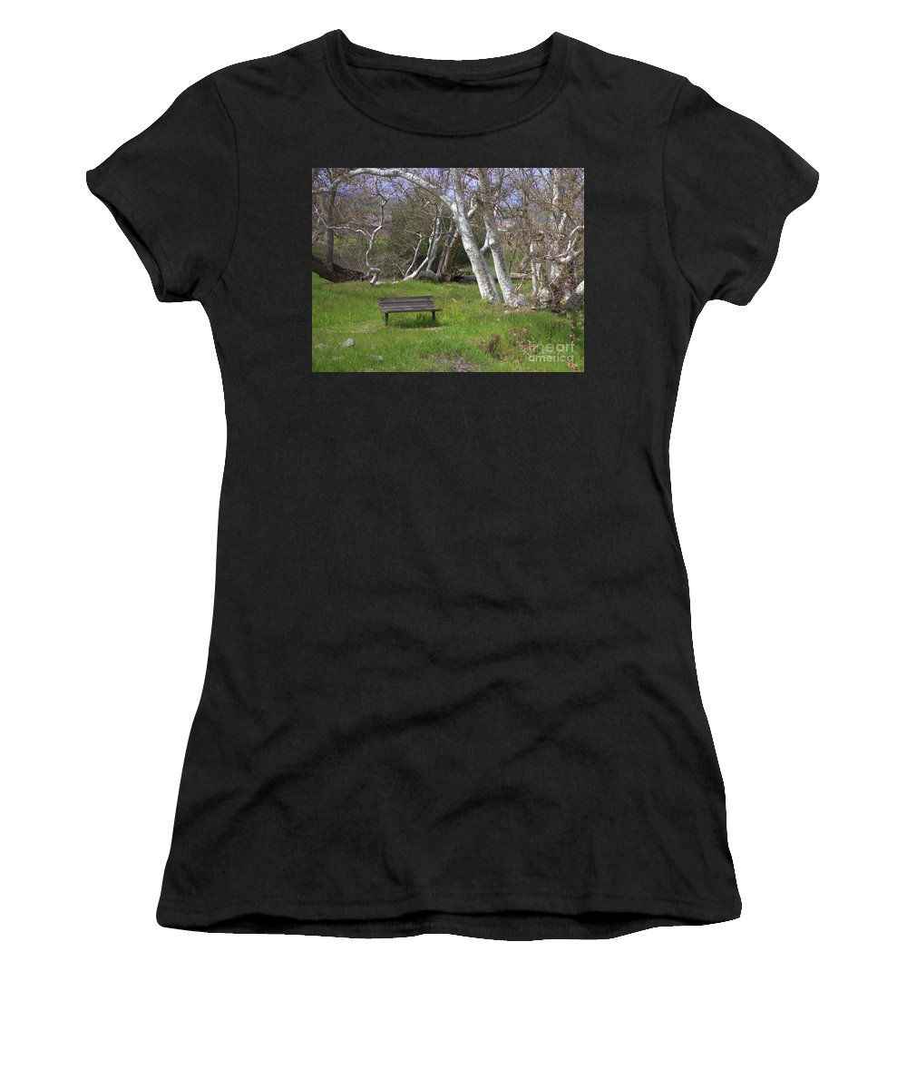 Bench Women's T-Shirt (Athletic Fit) featuring the photograph Spring Bench In Sycamore Grove Park by Carol Groenen