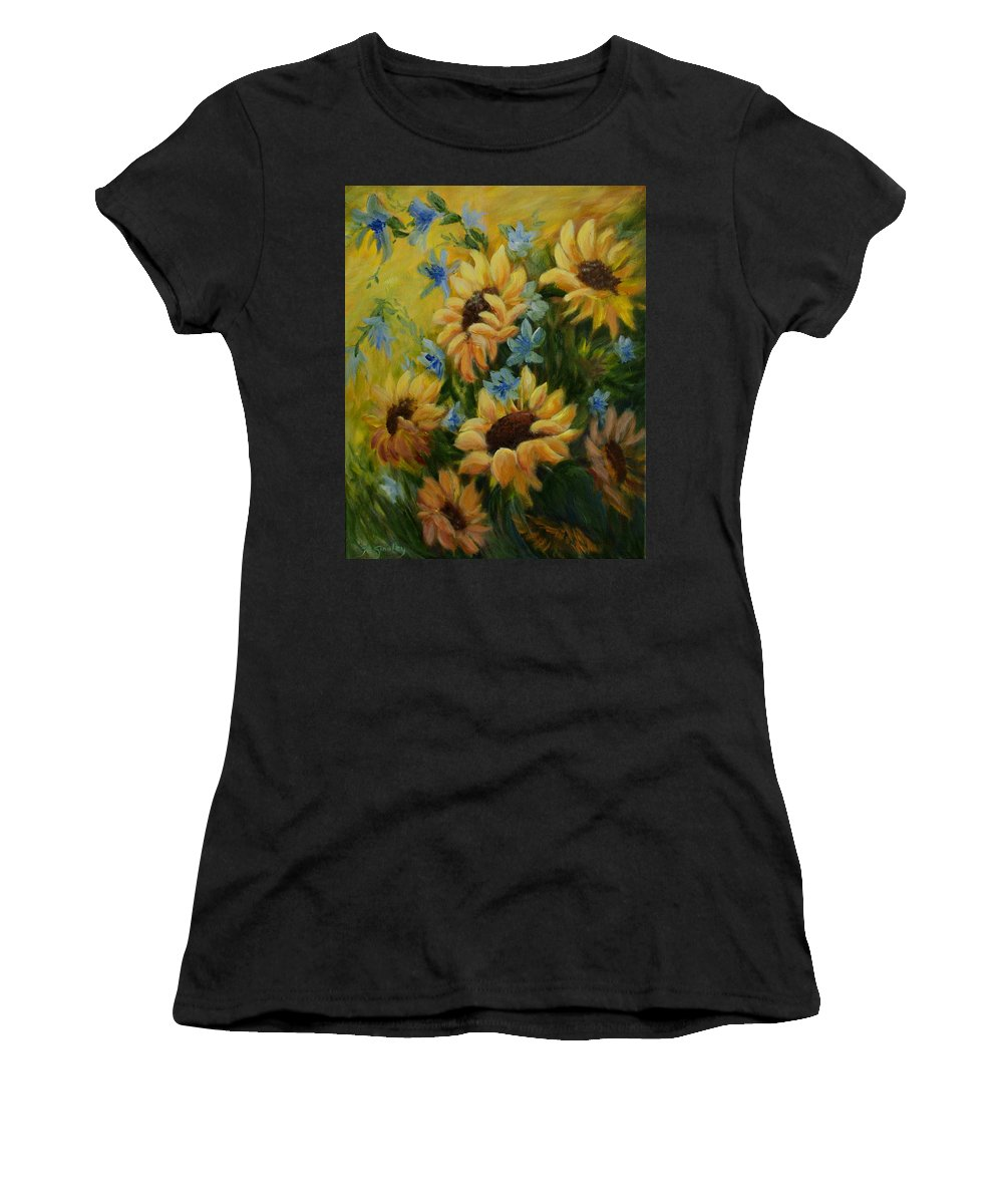 Daisies Women's T-Shirt (Athletic Fit) featuring the painting Sunflowers Galore by Joanne Smoley