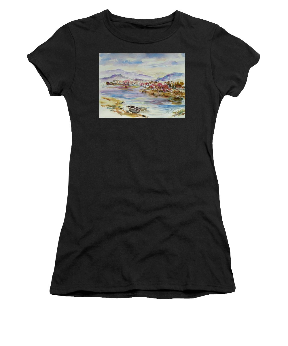 Watercolour Women's T-Shirt (Athletic Fit) featuring the painting Spring Breeze by Xueling Zou