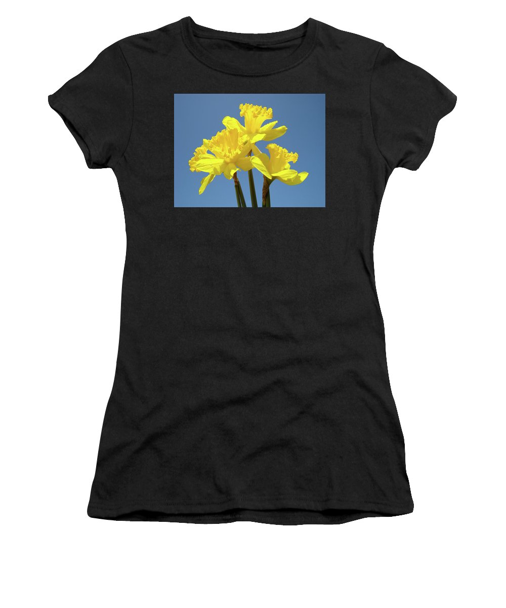 Daffodils Women's T-Shirt (Athletic Fit) featuring the photograph Spring Daffodil Flowers Art Prints Canvas Framed Baslee Troutman by Baslee Troutman
