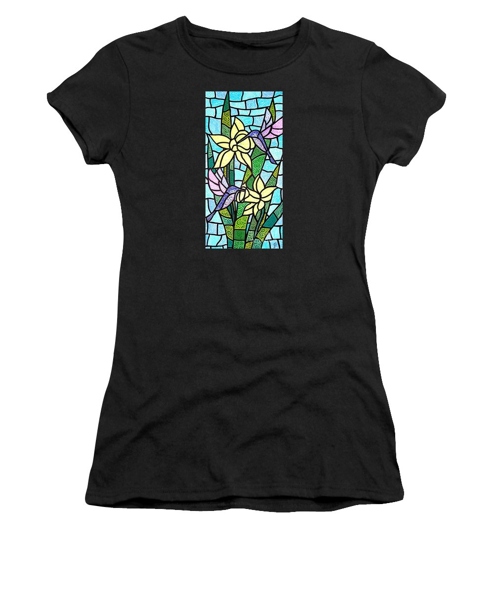 Flowers Women's T-Shirt (Athletic Fit) featuring the painting Spring Fling by Jim Harris