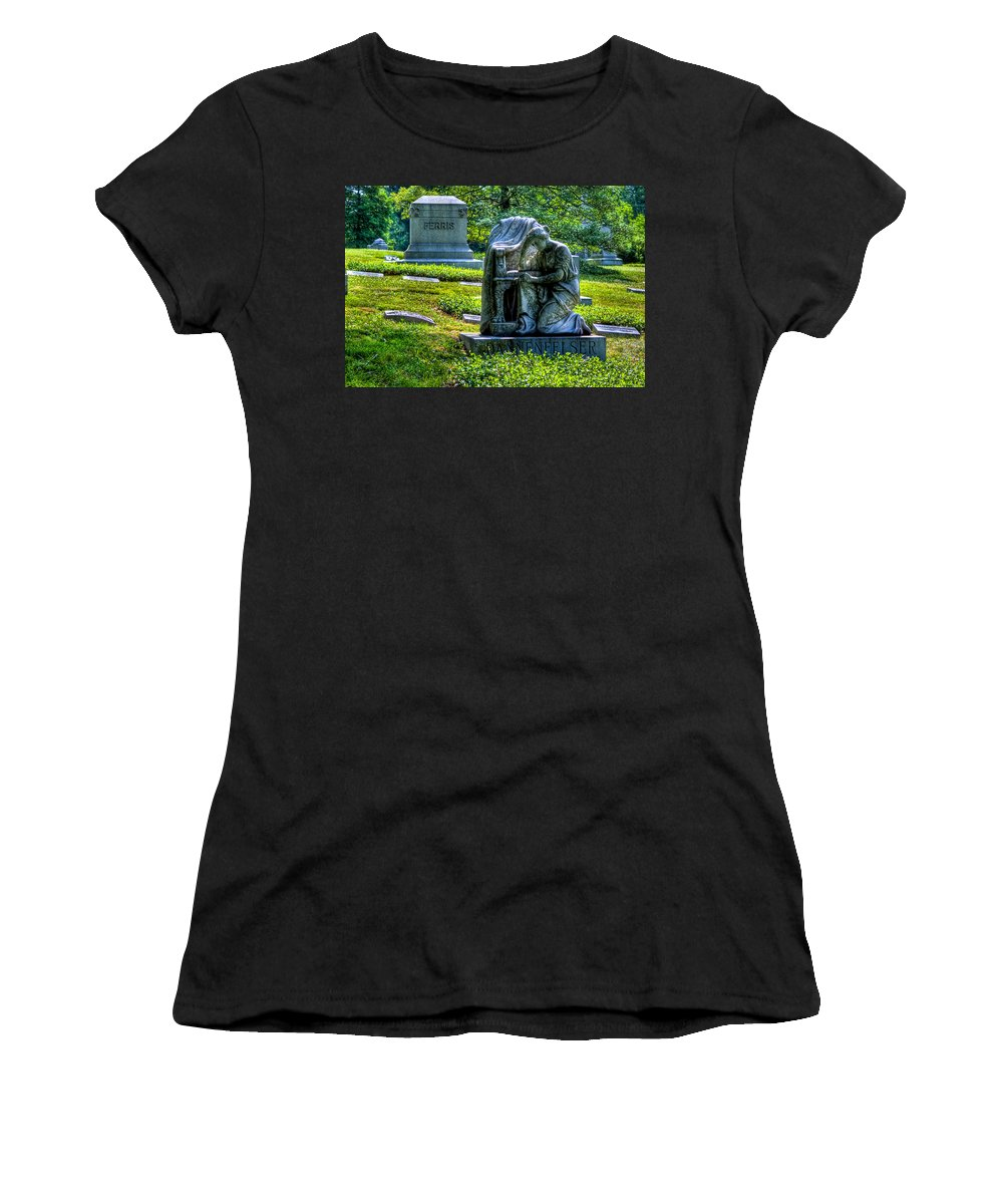 Spring Grove Women's T-Shirt featuring the photograph Spring Grove Gavestone by Jonny D